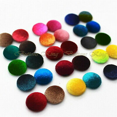 Velvet Fabric Buttons Silver Grey, Yellow Mustard, Raspberry, Blue, Large 40mm