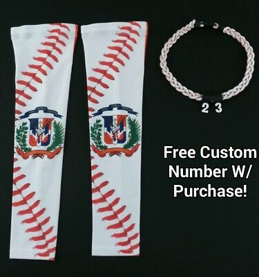 Sports Compression Arm Sleeves Dominican DR Flag Baseball Stitch & Rope Necklace