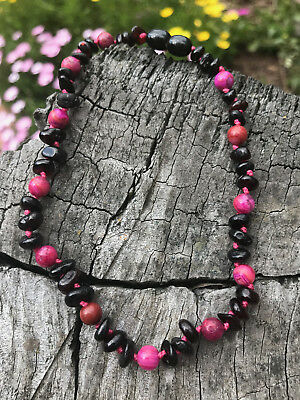 BALTIC Amber Necklace for Toddler/baby child - Cherry & Rose Agate