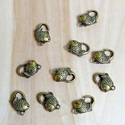 LOT Of 10 Antique Bronze Alloy Fish Lobster Clasp 20x15mm DIY Jewelry Findings