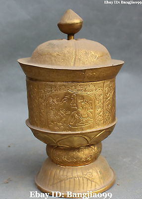 "10"" Chinese Bronze Gold Gilt Ancient People Dragon Pot Jar Crock Statue"