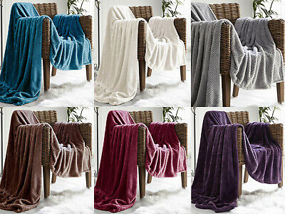 Waffle Pattern Soft Faux Mink Sofa Throw Blanket Small Medium Large - 6 Colours
