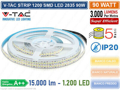 V-Tac Striscia Led 5 Metri Smd 2835 Alta Luminosita 1200 Led 15000 Lumen Ip20