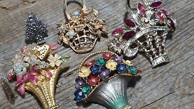 Lot of 5 pcs Vintage Rhinestone etc.  Flower Basket brooch pins beads sweetheart