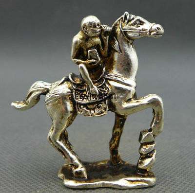 China Old Small Collectibles Miao Silver Monkey & Horse Statues