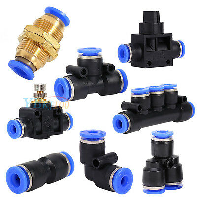 Pneumatic Push-In Fitting Air Valve Water Hose Tube Pipe Connector Joiner inm