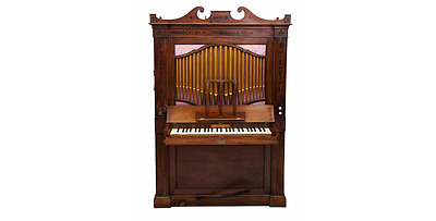 19th century English Regency mahogany inlaid Organ -Rare -c1820s