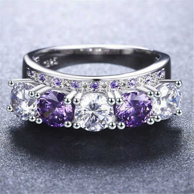 Gorgeous Women Round Cut Amethyst & White Sapphire 925 Silver Ring Size 6-10