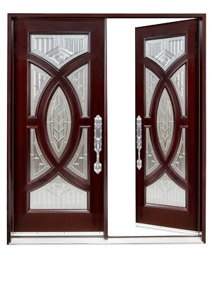 """705A 30""""X80""""X2 Right hand swingin EXTERIOR FRONT ENTRY DOUBLE WOOD DOOR"""