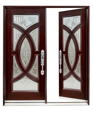 """705A EXTERIOR FRONT ENTRY DOUBLE WOOD DOOR30""""X80""""X2 Right hand swingin"""
