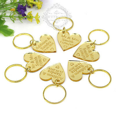 Personalized Engraved Keyrings Gold Love Heart Keychain Gift Tag Wedding Favours