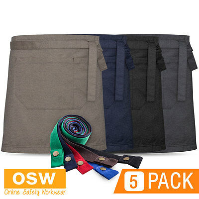 5 X Urban Textured Cafe Hospitality Waist Aprons - Denim/Natural/Slate/Black