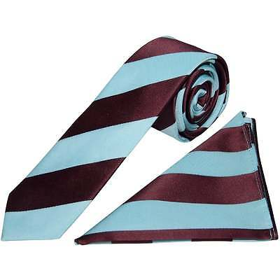 Handmade Claret and Blue Striped Skinny Men's Football Tie and Handkerchief Set