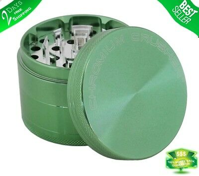 Tobacco Herb Grinder Spice 4 Piece Magnetic 2.5 Inch Green Chromium With Scoop
