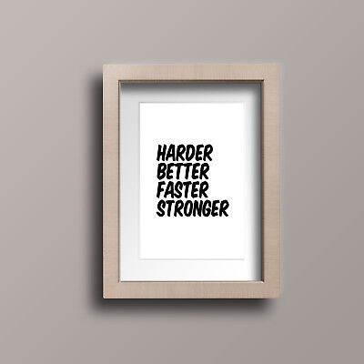 Harder Better Faster Stronger Motivational Quote Wall Art A4 Canvas Print