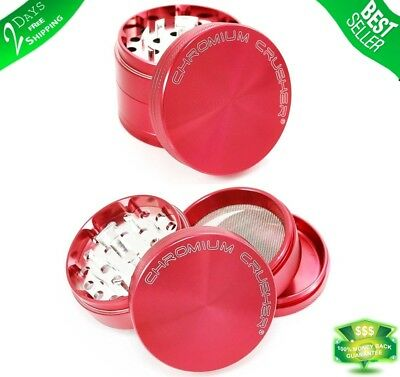 Tobacco Herb Grinder Spice 4 Piece Magnetic 2.5 Inch Red Chromium With Scoop New