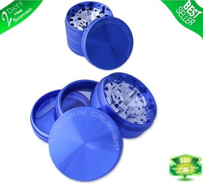 Tobacco Herb Grinder Spice 4 Piece Magnetic 2.5 Inch Blue Chromium With Scoop