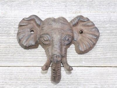 1 X Antiqued Reproduction Cast Iron Elephant Head Single Hook Wall Decor Towel