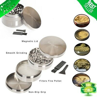 Tobacco Herb Grinder Spice 4 Piece Magnetic 2.5 Inch Silver Chromium With Scoop