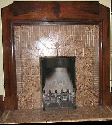 1930s ORIGINAL Art Deco solid wood fireplace surround