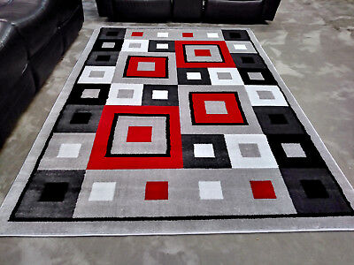 5x8 Geometric Rug Red Black White Modern Contemporary Gray Area Rugs New