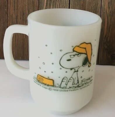 Snoopy Fire King Milk Glass Mug I Hate It When It Snows On My French Toast! #H1