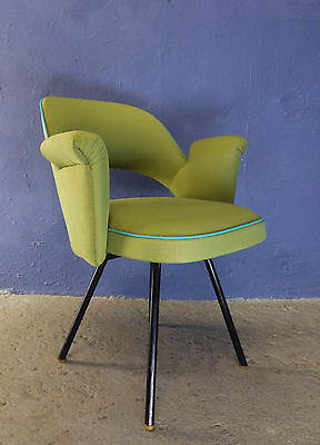 VINTAGE 50s 60s MID CENTURY REUPHOLSTERED ARMCHAIR SIDE CHAIR METAL LEGS