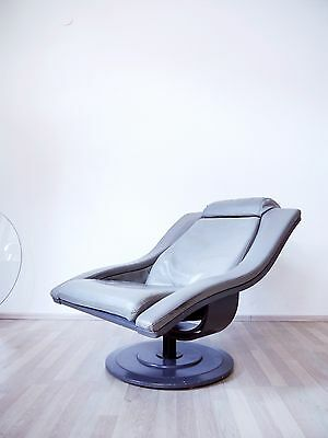 VINTAGE 70s GREY LEATHER MOVE LOUNGE CHAIR BY OKAMURA & MARQUARDSEN NELO SWEDEN