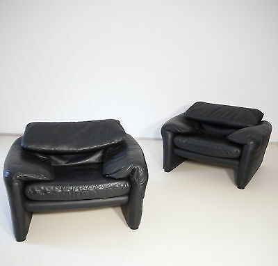 VINTAGE 70s MODERNIST VICO MAGISTRETTI MARALUNGA ARMCHAIR BLACK LEATHER CASSINA