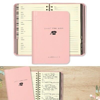 Small Pink Spiral Address Book 160 Pages Print Tabs With Handy Pocket Purse Fit