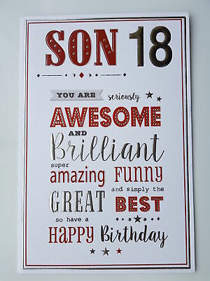 18th 2000 year you were born birthday card personalised 6 son son 18th birthday card you are awesome and brilliant bookmarktalkfo Choice Image