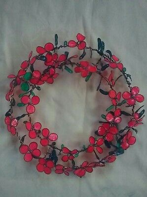 metal wreath with handmade wire petals and flowers