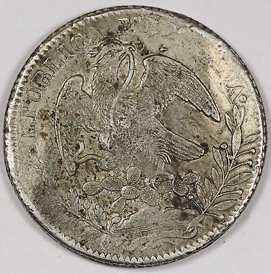 """Mexico 1838 Zs OM """"CAP AND RAYS"""" 8 Reales Silver Coin VF/XF Early Date"""