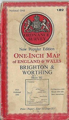 Ordnance Survey One Inch Map Brighton & Worthing  Sheet 182 1940 Old Vintage