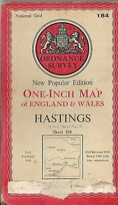 Ordnance Survey One Inch Map Hastings Sheet 184 1940 Old Vintage CLOTH