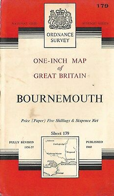 Ordnance Survey One Inch  Map Bournemouth Sheet 179 1960 Old Vintage