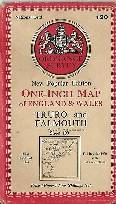 Ordnance Survey One Inch Map Truro  & Falmouth  Sheet 190 1946 Old Vintage