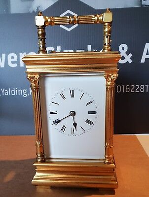 ANTIQUE CARRIAGE CLOCK X  Large 8 INCHES HIGH WITH HANDLE UP  full working order