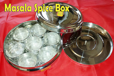 Stainless Steel Indian 7Spice Tin Box Masala Dabba Spices Box Storage with spoon