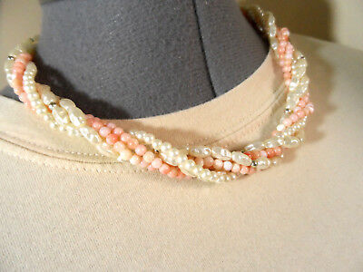 """TWISTED Pearl Strand Necklace 18"""" Champagne & Peach SIlver Beaded Dressy Formal"""