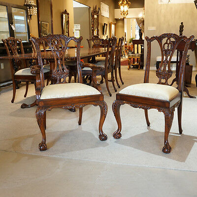 Set of 10 mahogany Chippendale Ball and Claw traditional dining chairs
