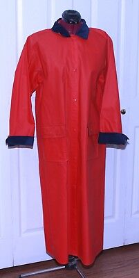 Talbots Vintage Raincoat Red Medium Women's Vinyl Corduroy Trim Trench Coat