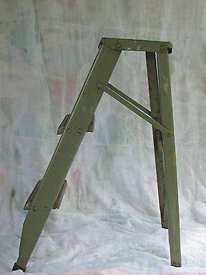 Vintage Step Ladder 2' Metal Green LADDER RETRO