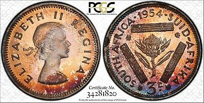 Toned 1954 South Africa 3 Pence | PCGS PR67