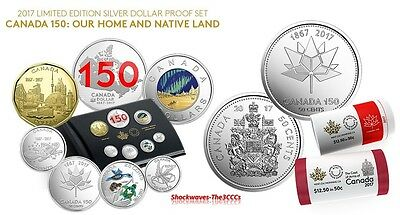2017 Canada 150 Silver Dollar Proof Set & 2 x 50-CENT SPECIAL WRAP ROLLS