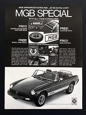 1977 Vintage Print Ad MGB SPECIAL Convertible Car Sports Image Photo