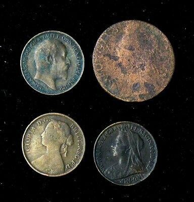 Lot of 4 Great Britain 1860, 1901, 1904 Farthing and George II Half Penny