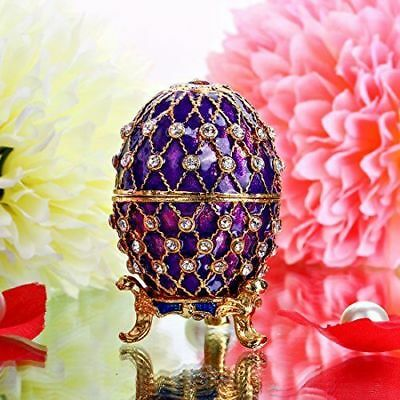 Purple Egg Crystal Trinket Jewelry Ring Box Safe Storage Holder Collectible Gift