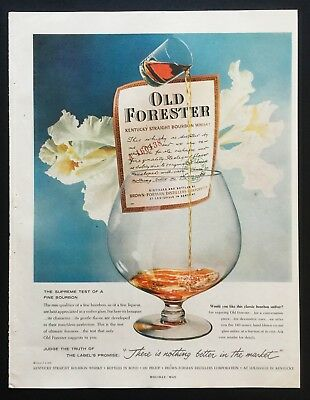 1958 Vintage Print Ad 50's OLD FORESTER Kentucky Straight Bourbon Whisky Pour