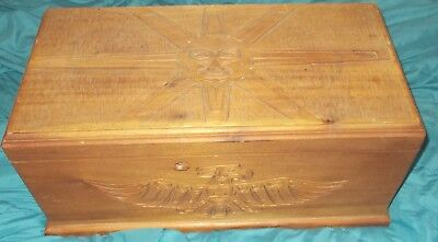 Beautiful First Nations Native Carved Wood Box Hope Chest Raven Hummingbird Sun
